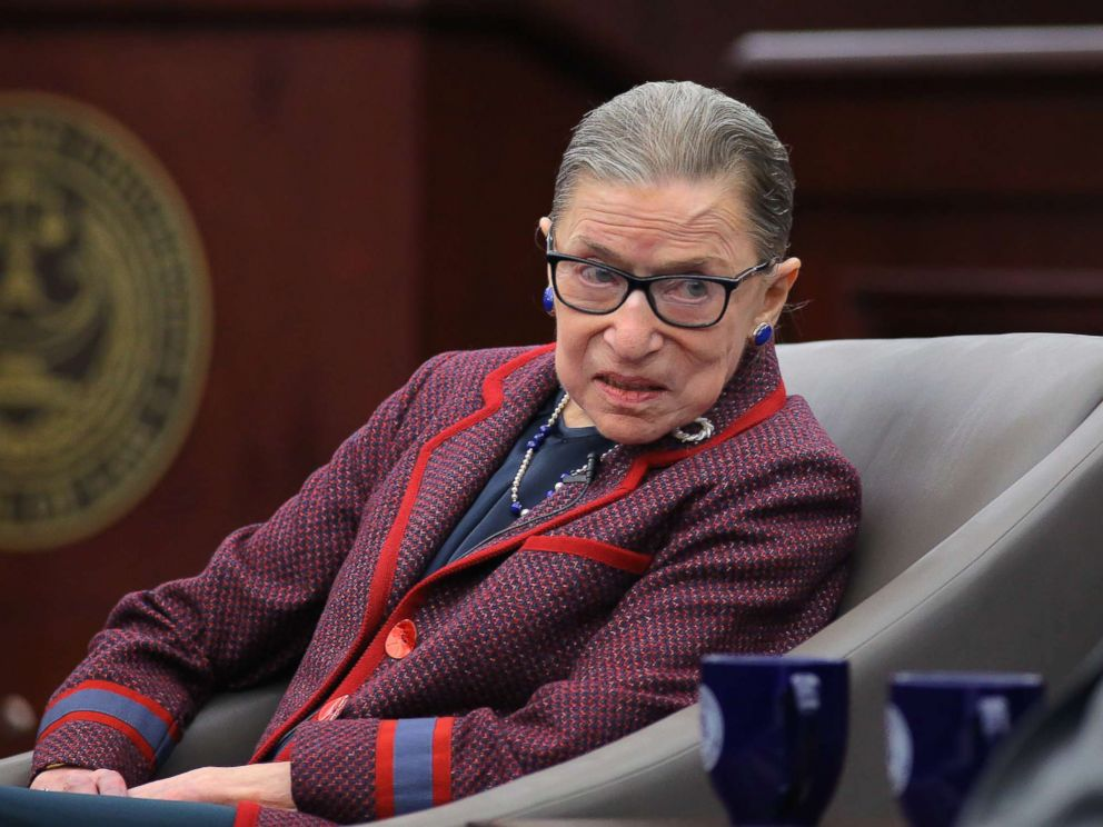 PHOTO: Ruth Bader Ginsburg speaks during an match at Roger Williams University Law College in Bristol, R.I., Jan. 30, 2018.