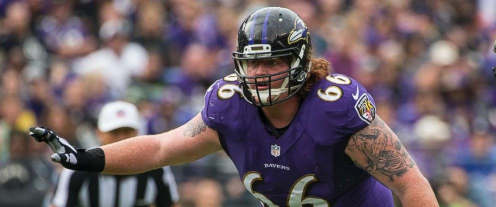 PHOTO: Baltimore Ravens guard Ryan Jensen (66) blocks against the Oakland Raiders, Oct. 2, 2016, in Baltimore.