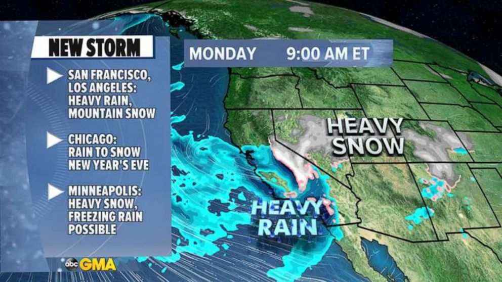 PHOTO: A New Year's Eve storm will move across U.S. with heavy snow, winds and severe thunderstorms