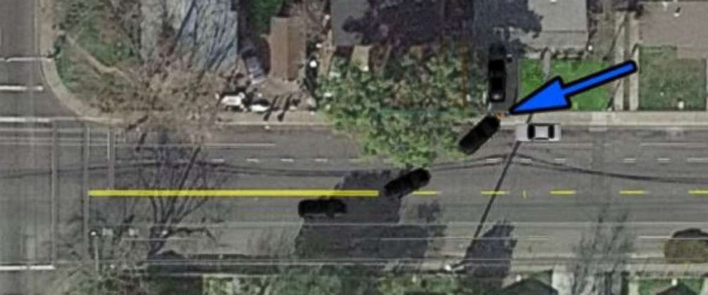 A diagram from the Sacramento Police Department shows what happened when a police SUV hit a fleeing suspect, at the point of the blue arrow, on Sunday, July 22, 2018.