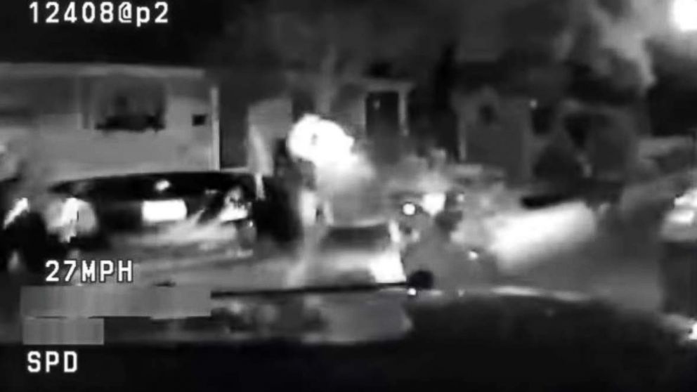 A screengrab from video released by the Sacramento Police Department shows the moment before a teenager running from police was hit by a police vehicle on Sunday, July 22, 2018.