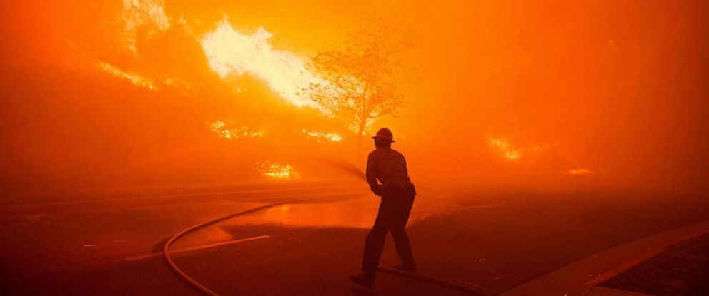 PHOTO: ANF Texas Canyon Station Firefighters battle the flames of the Saddlebridge Fire in Sylmar, Calif. on Oct. 10, 2019.