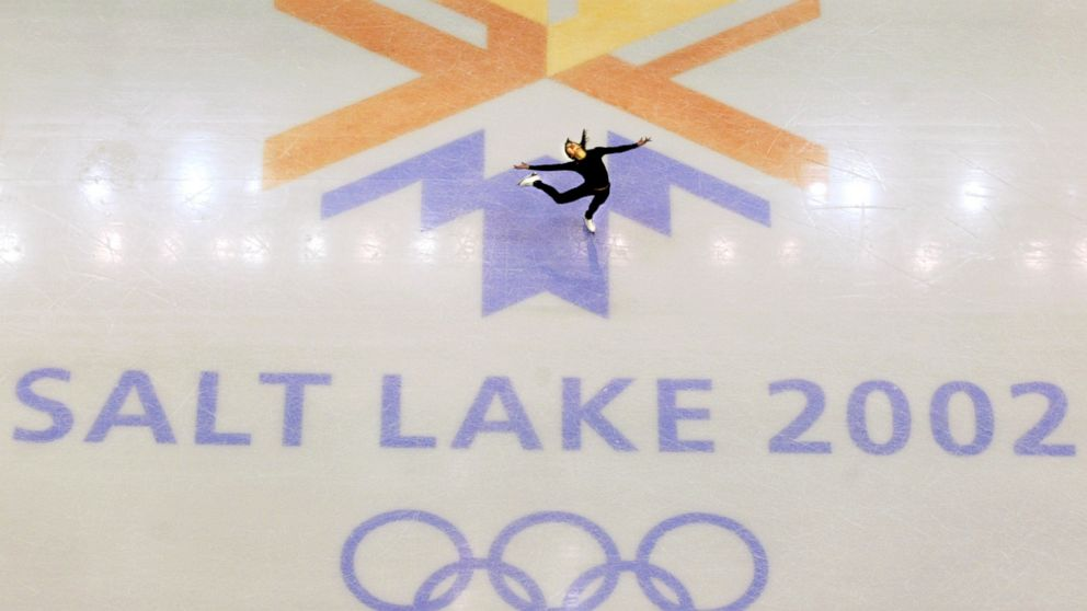 This Feb. 8, 2002, file photo, shows U.S. champion Michelle Kwan practicing for the women's short program for the Winter Olympic Games at the Salt lake Ice Center in Salt Lake City.