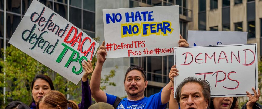 PHOTO: Immigrants, allies and elected officials gathered to rally in New York City to demand that the Department of Homeland Security extend Temporary Protected Status (TPS) for hundreds of thousands of program beneficiaries, Nov. 6, 2017.