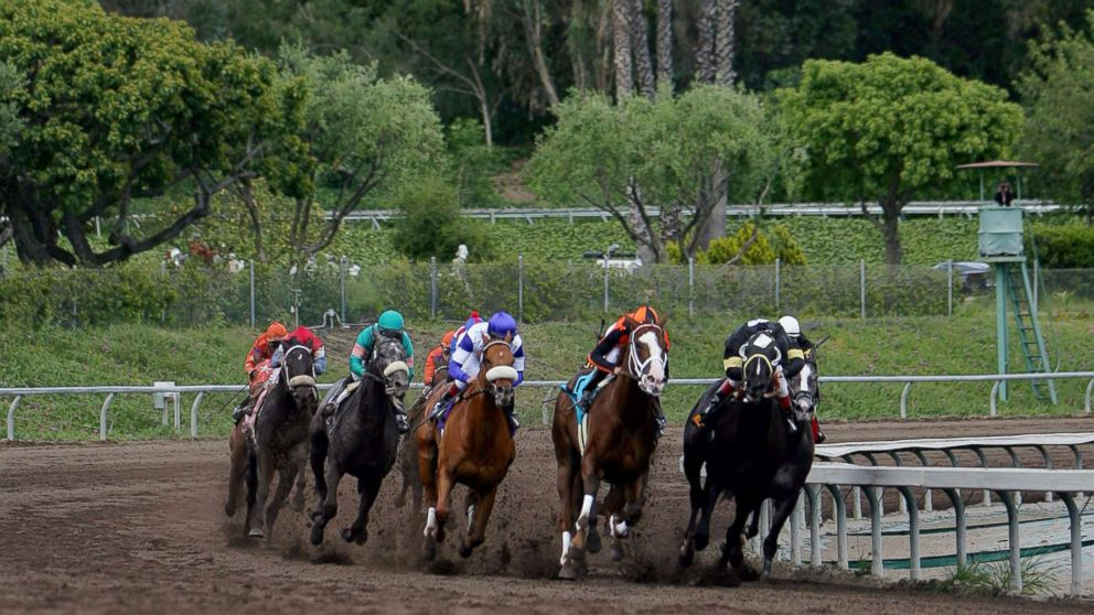 Horses take the final turn during the Santa Anita Derby at Santa Anita Park, April 9, 2005, in Arcadia, Calif.