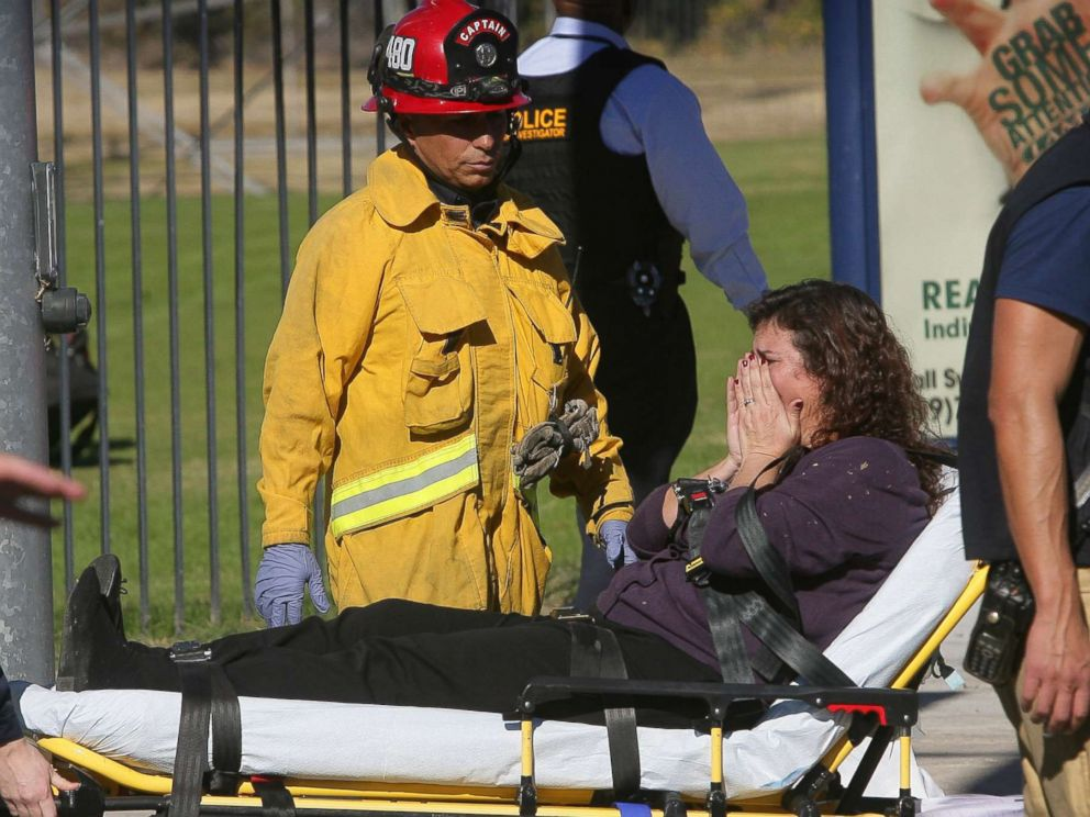 PHOTO: A victim is wheeled away on a stretcher following a shooting that killed 14 people at a social services facility, Dec. 2, 2015, in San Bernardino, Calif.