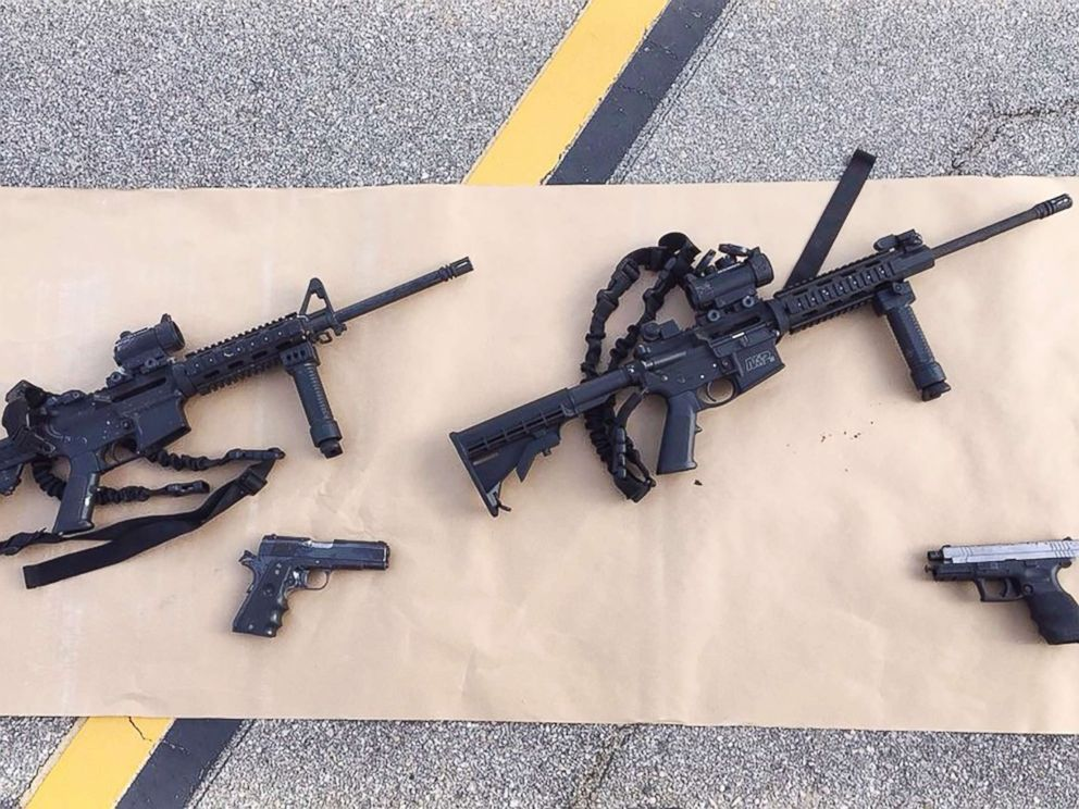 PHOTO: Four guns are seen near the site of a shootout between police and suspects in the San Bernardino shootings, Dec. 4, 2015, in San Bernardino, Calif, in this handout photo provided by the San Bernardino County Sherrifs Department.