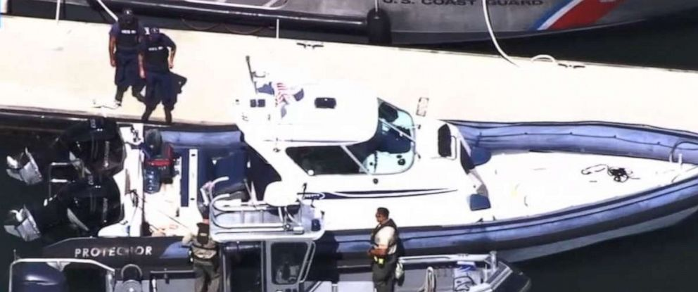 PHOTO: Authorities inspect the 33-foot boat owned by Javier Burillo, a prominent real estate developer, who was arrested for manslaughter after running over his 11-year-old son after he fell out of the ship near Tiburon, Calif., Sept. 15, 2019.