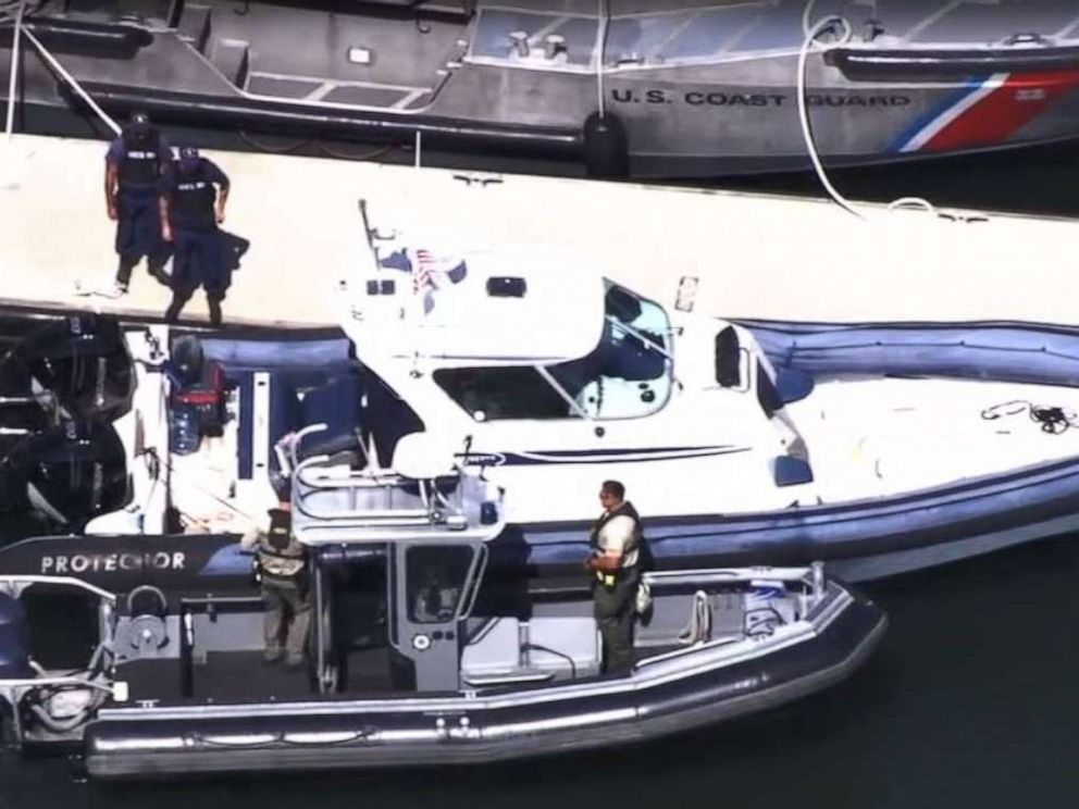 PHOTO: Authorities inspect the 33-foot boat owned by Javier Burillo, a prominent real estate developer, who was arrested for manslaughter after running over his 11-year-old son after he fell out of the ship near Tiburon, Calif., on Sept. 15, 2019.