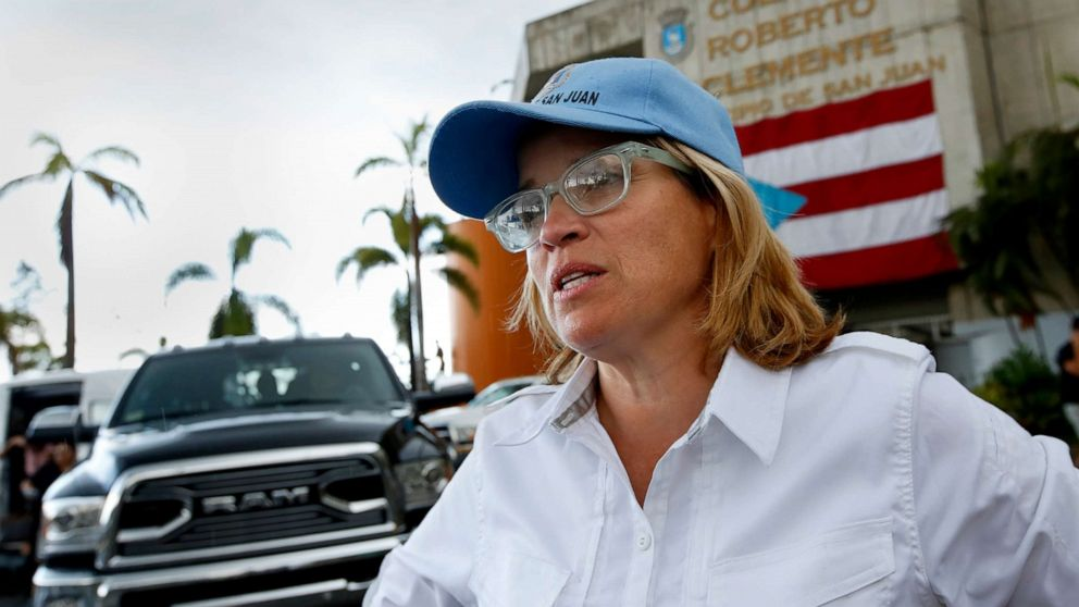 San Juan mayor Carmen Yulin Cruz talks to a member of the media in San Juan, Puerto Rico following Hurricane Maria, Oct. 2, 2017.