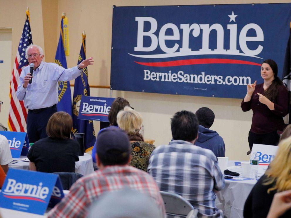 PHOTO: Democratic 2020 U.S. presidential candidate and U.S. Senator Bernie Sanders (I-VT) speaks at a campaign stop in Hooksett, New Hampshire, U.S., September 30, 2019.