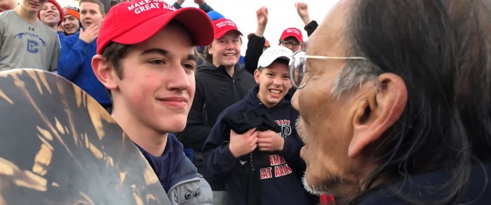 PHOTO: Covington Catholic High School student Nicholas Sandmann stares down Native American activist Nathan Phillips at the Lincoln Memorial in Jan. 18, 2019.