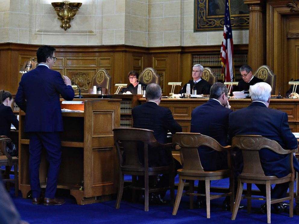 PHOTO: The Connecticut Supreme Court listens to attorney Josh Koskoffs arguments on whether gun maker Remington Arms should be held liable for the 2012 Newtown school massacre, in Hartford, Conn., Nov. 14, 2017.