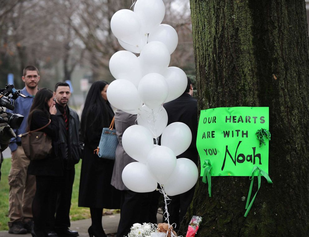 PHOTO: A sign is seen outside the funeral home where services were held for six-year-old Noah Pozner, who was killed in the December 14, 2012 shooting massacre in Newtown, Conn., at Abraham L. Green and Son Funeral Home, Dec. 17, 2012.