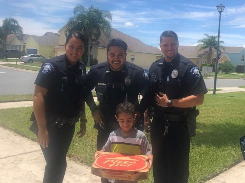 PHOTO: Sanford Police bought a boy a pizza after he called 911 to say he was hungry. Sanford Police posted this image to twitter saying they took a moment to educate about the proper use of 911 and deliver the pizza.