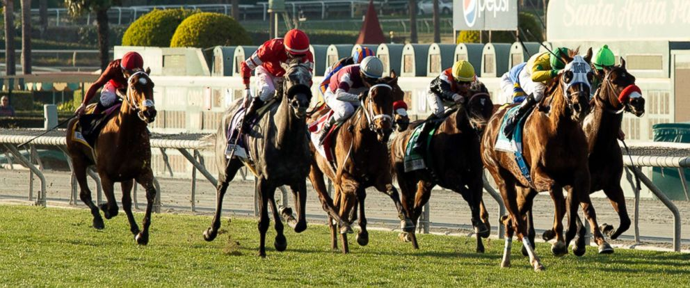photo: Vasilika, second from right, with Flavien Prat aboard, draws away in mid-stretch and goes on to win the Grade II, $200,000 Buena Vista Stakes horse race, Feb. 23, 2019, at Santa Anita Park in Arcadia, Calif.