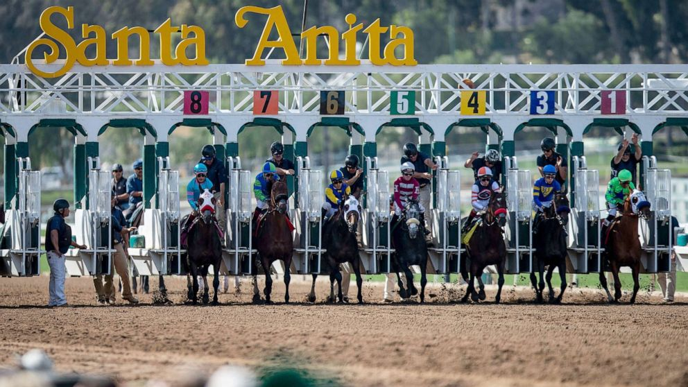 The field for the 6th race breaks from the starting gate as fans look on at Santa Anita Park on March 29, 2019 in Arcadia, Calif.