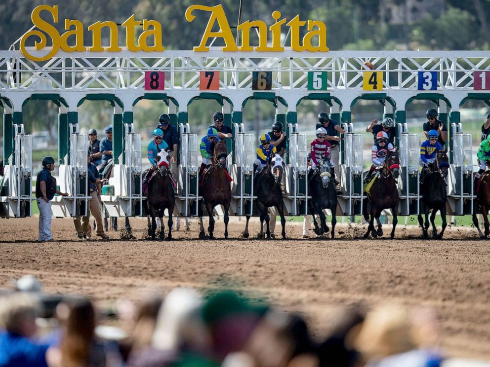 PHOTO: The field for the 6th race breaks from the starting gate as fans look on at Santa Anita Park, March 29, 2019, in Arcadia, Calif.