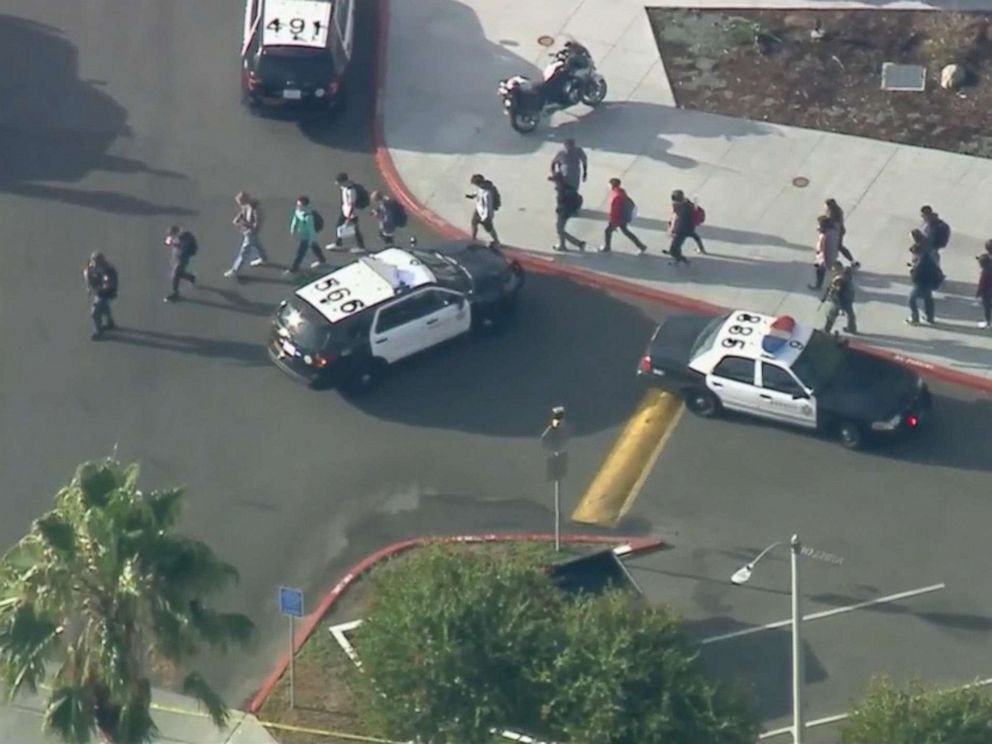 PHOTO: Students are evacuated from Saugus High School in Santa Clarita, Calif., near Los Angeles, after reports of a shooting, Nov. 14, 2019.