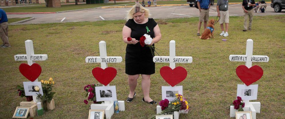 PHOTO: Crosses honoring victims of last weeks shooting, line the lawn in front of Santa Fe High School, May 21, 2018 in Santa Fe, Texas.