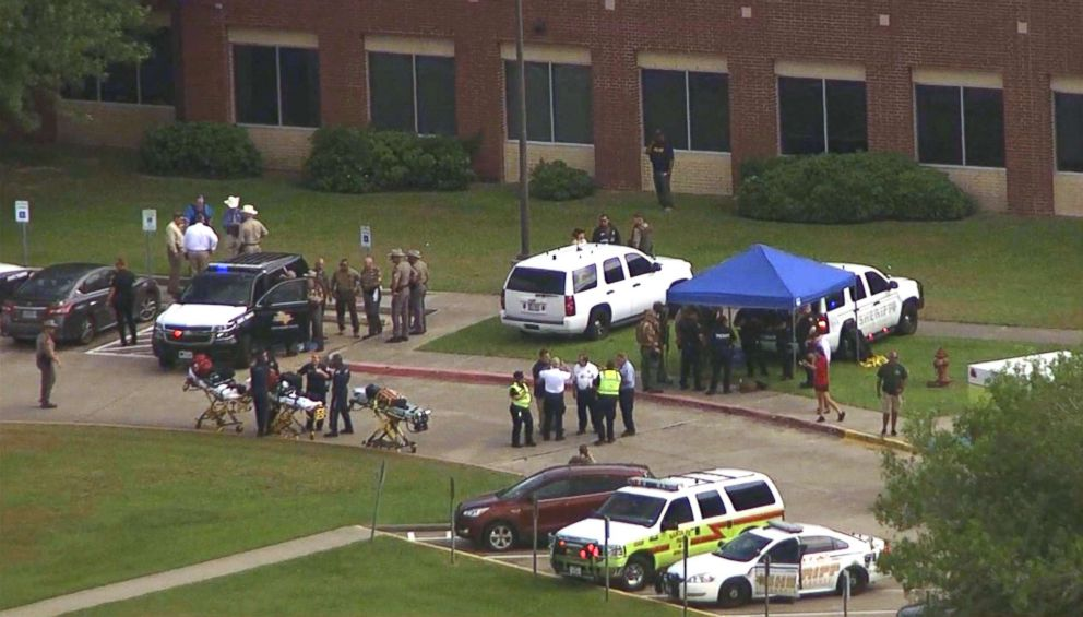 PHOTO: First responders work outside of Santa Fe High School in Santa Fe, Texas, May 18, 2018 after a shooting.
