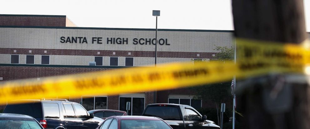 PHOTO: Crime scene tape is stretched across the front of Santa Fe High School on May 19, 2018 in Santa Fe, Texas.