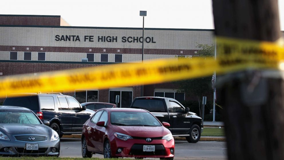 Crime scene tape is stretched across the front of Santa Fe High School on May 19, 2018 in Santa Fe, Texas.