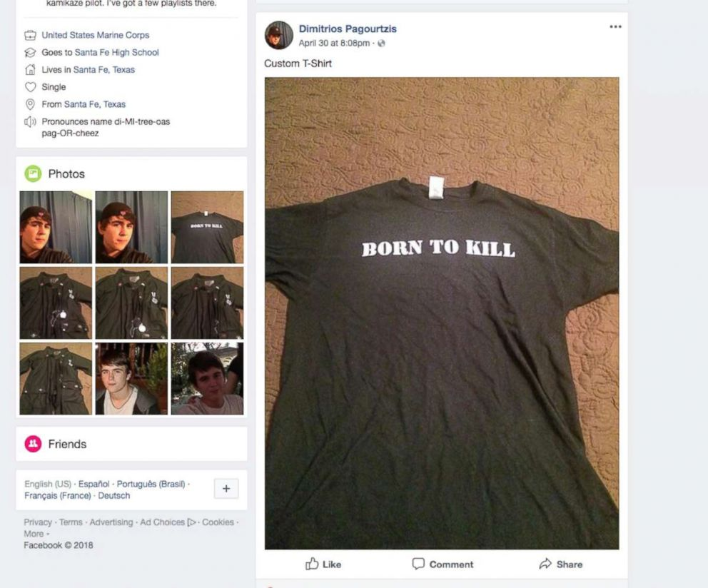 PHOTO: A t-shirt with the words Born To Kill is pictured in a screenshot from the Facebook account of Dimitrios Pagourtzis, the suspect in the shooting at Santa Fe High School in Santa Fe, Texas, May 18, 2018.