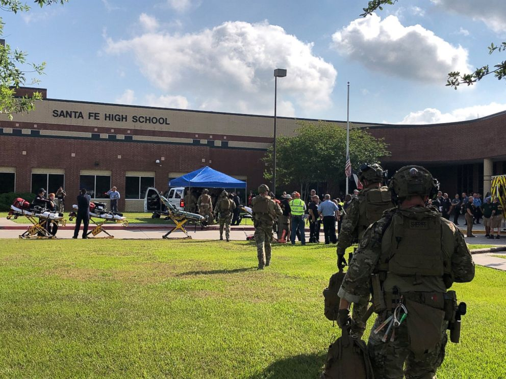 PHOTO: Law enforcement officers are responding to Santa Fe High School following a shooting incident in Santa Fe, Texas.