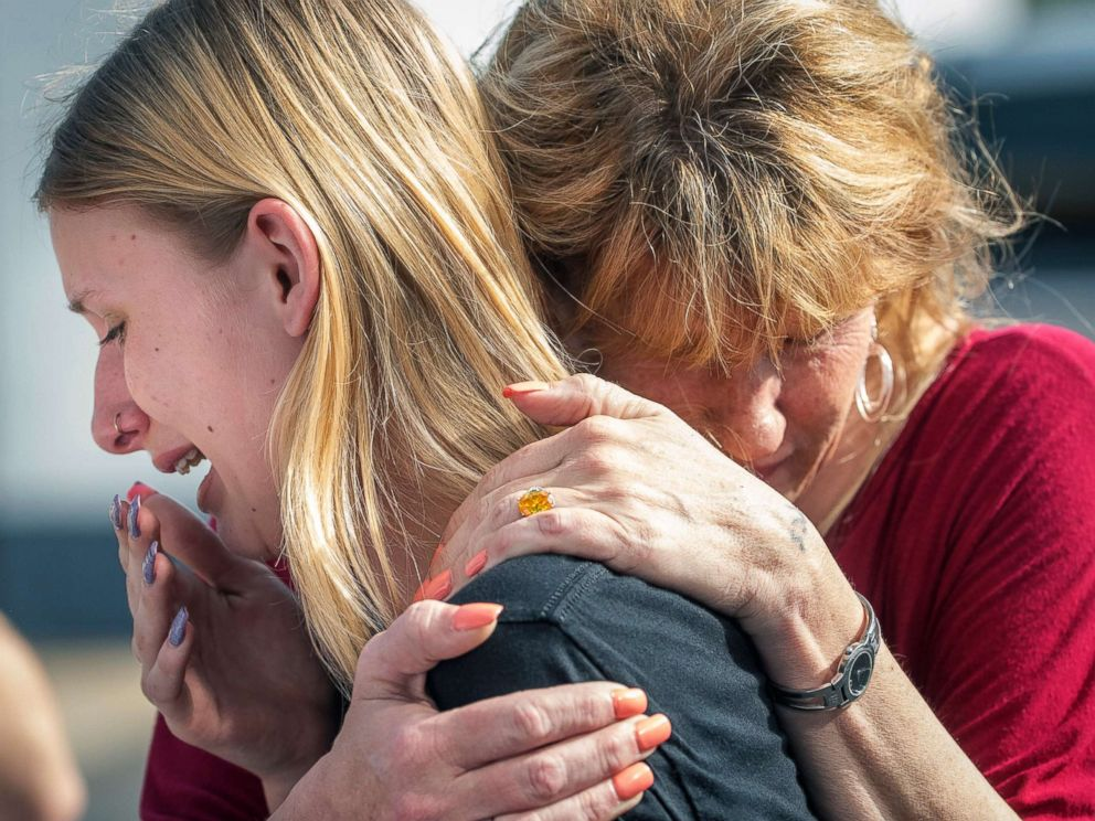 PHOTO: Santa Fe High School student Dakota Shrader is comforted by her mother Susan Davidson following a shooting at the school, May 18, 2018, in Santa Fe, Texas.