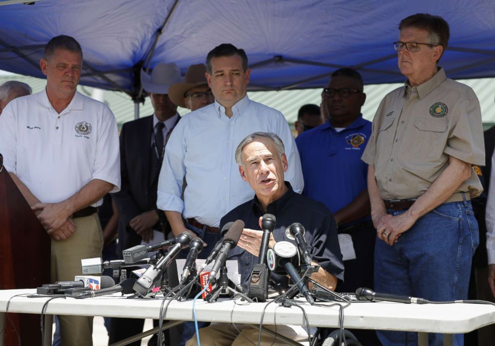 PHOTO: Galveston County Judge Mark Henry, Sen.Ted Cruz, Texas Gov. Greg Abbott and Texas Lt. Gov. Dan Patrick speak to the media during a press conference about the shooting incident at Santa Fe High School on May 18, 2018 in Santa Fe, Texas.