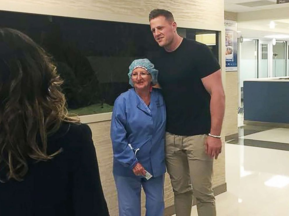 J.J. Watt visited with survivors of the Santa Fe High School shooting at Clear Lake Regional Medical Center