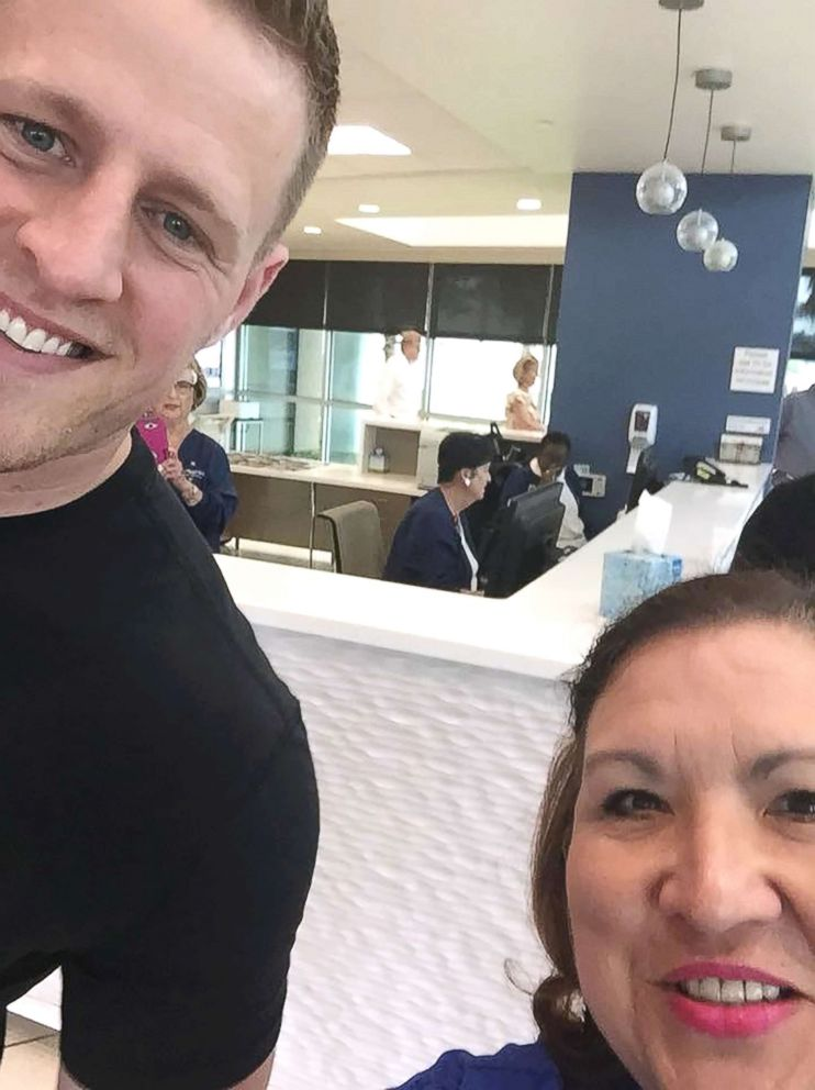 PHOTO: Houston Texans star J.J. Watt visited with survivors of the Santa Fe High School shooting at Clear Lake Regional Medical Center on May 22, 2018, and stopped to take photos with nurses who have been working to care for the wounded.