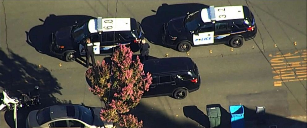 PHOTO: Police vehicles respond near the scene of a reported shooting near Ridgway High School in Santa Rosa, Calif., Oct. 22, 2019.