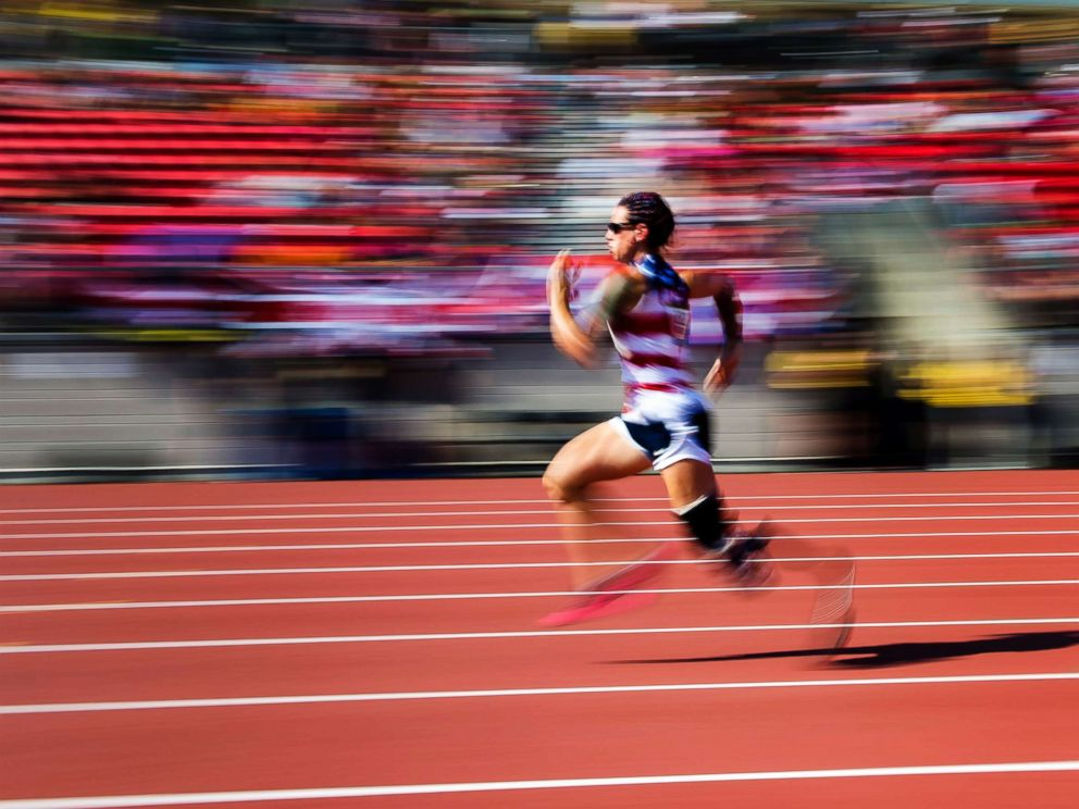 PHOTO: Sarah Rudder of the United States races to a gold medal in the womens 100 meter dash during the Invictus Games in Toronto, Sept. 24, 2017.