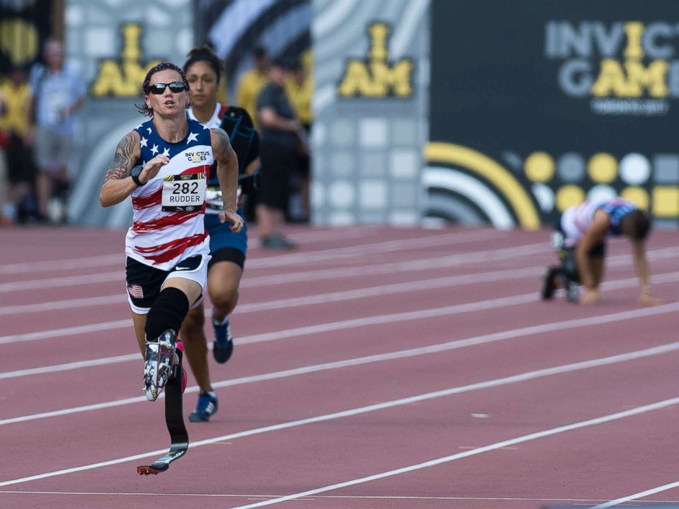 PHOTO: Sarah Rudder (L) of the U.S. leads Sabrina Daulaus of France as Christy Wise (R-rear) of the U.S. falls in the Womens IT1/IT2/IT3 200m Final during the Athletic events of the third Invictus Games in Toronto, Sept. 24, 2017.