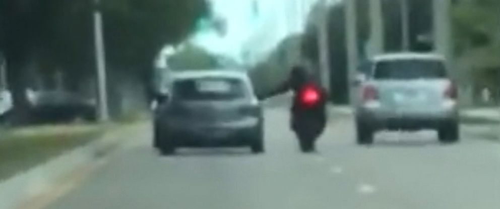 PHOTO: Video captured a road rage incident in Sarasota, Fla., where a driver intentionally rams a motorcyclist off the road, April 8, 2018.