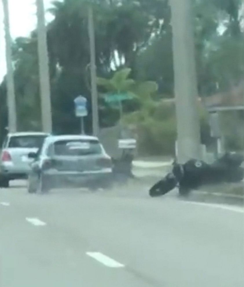 Florida deputies search for road rage suspect seen ramming auto into motorcyclist