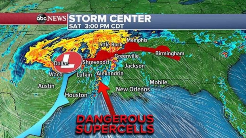 Dangerous supercells will form Saturday in parts of Louisiana and western Mississippi.