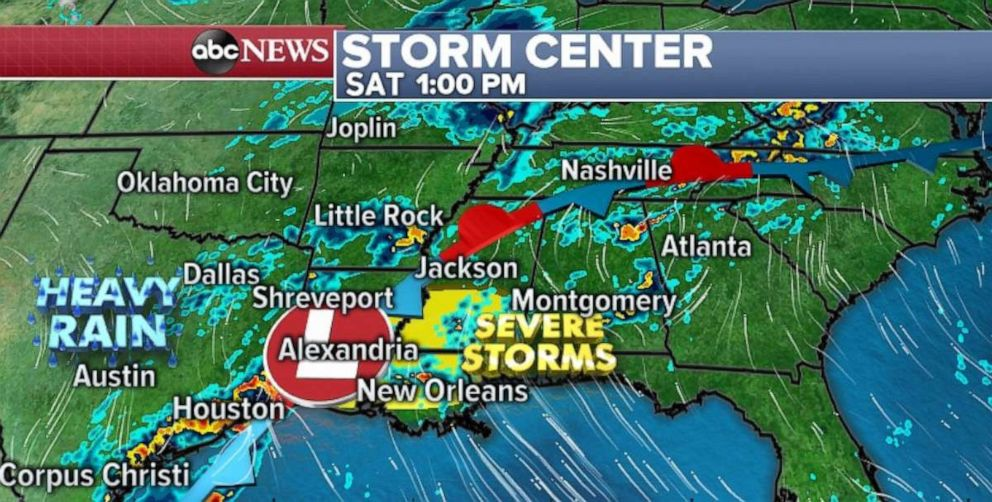PHOTO: Severe storms are possible in Louisiana and southern Mississippi on Saturday afternoon.