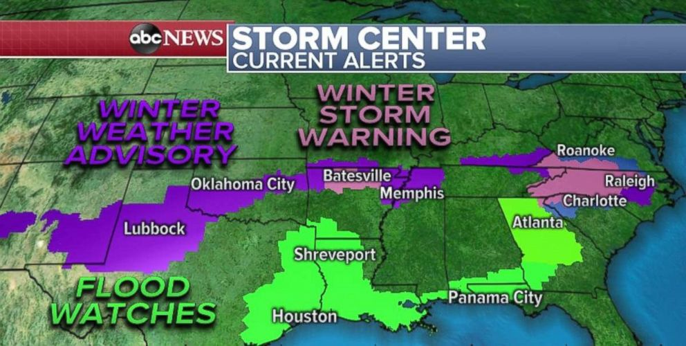 PHOTO: Winter weather alerts and flood watches are in place due to the storm system moving through the South and Southeast over the weekend.