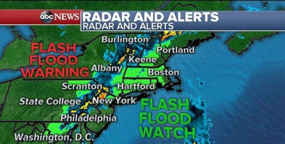 Flash flood watches and warnings are in place for interior portions of the Northeast.