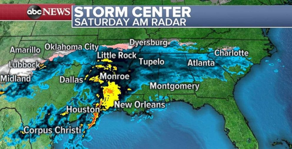 PHOTO: Heavy rain is falling in the South on Saturday morning with snow in northwestern Texas.
