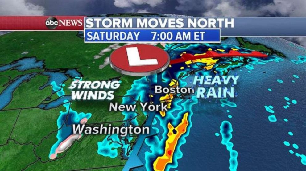 PHOTO: Heavy rain will continue throughout the day on Saturday for New York and New England.