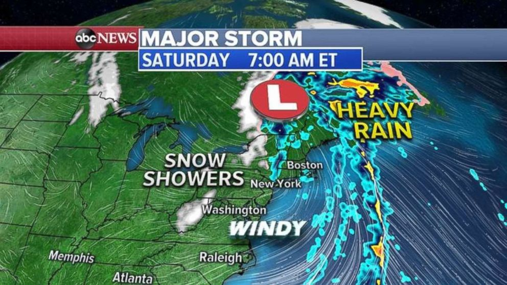 PHOTO: The storm will begin to move off the Northeast coast on Saturday.