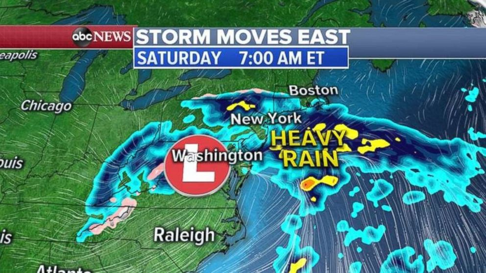 PHOTO: The storm will reach the Northeast overnight Saturday.