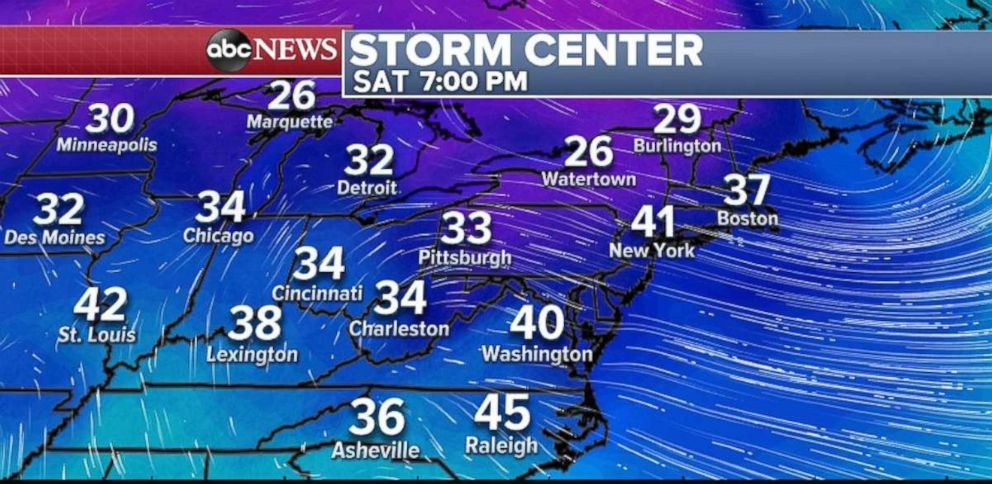 PHOTO: Cold weather will enter after the storm system moves out of the Northeast.
