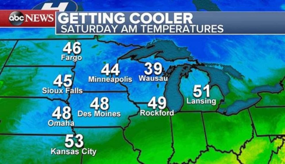 PHOTO: Cooler temperatures are moving into the Northern Plains on Saturday morning.