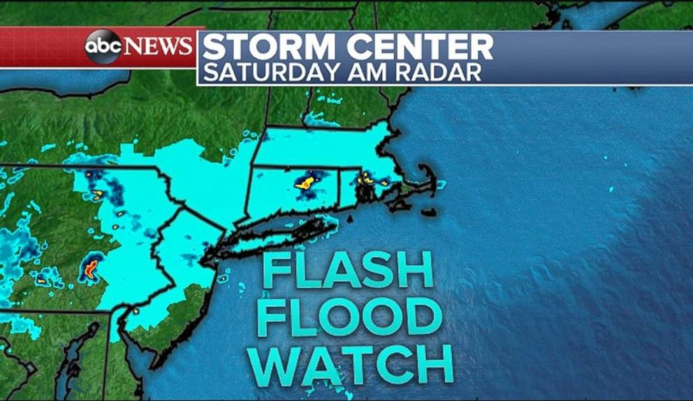 A flash flood watch is in effect for parts of New Jersey, Pennsylvania, New York and Massachusetts, while Connecticut and Rhode Island is entirely under a watch.