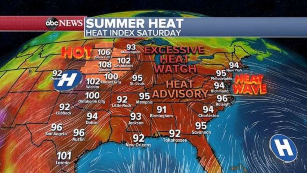 PHOTO: The heat index will be in the 90s across much of the country on Saturday.